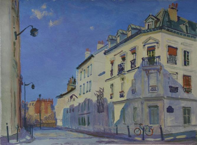Rue des Artistes. Le soir.