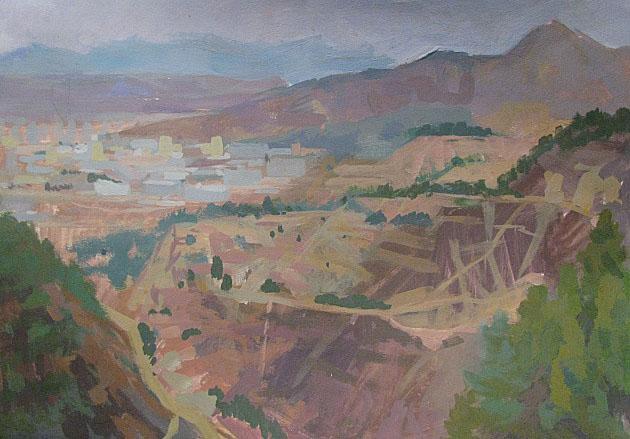 Lanzhou. La Vue d'une montagne